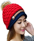 iSweven All New Fashion Cap (4004) For Girls Women Boys Mens Woollen Knitted Hat Winter-Autumn Beanie Universal Size Caps (Red)
