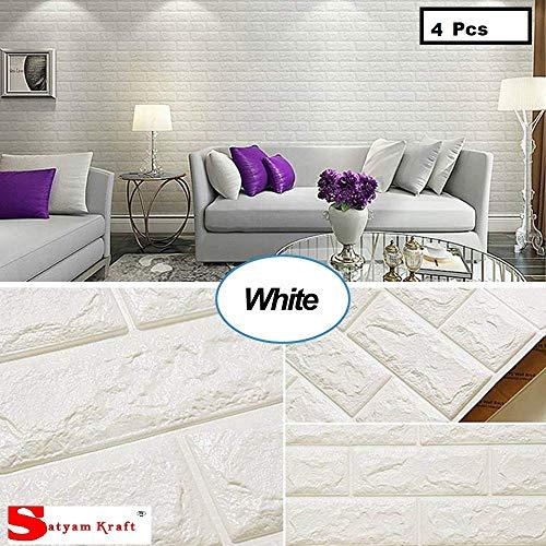 Satyam Kraft 3D Self Adhesive Brick Textured Effect Peel and Stick Foam Wallpaper (White, 76x69 cm) (4 Pcs)