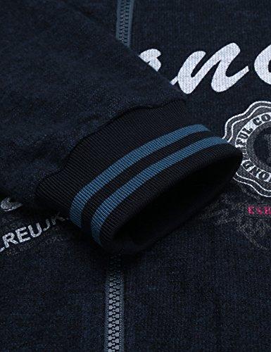 Finejo Herren Kapuzenjacke HoodieJacke mit Kapuzen Stickerei Reißverschluss Freizeit Party Dunkel Blau