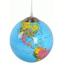 Lámpara globo terráqueo iluminación a led–Globo terrestre de 25cm Che incanterà grandes y pequeños.