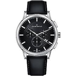 Claude Bernard Classic–Reloj de pulsera para hombre con cronógrafo y fecha analógico de cuarzo 102373NIN