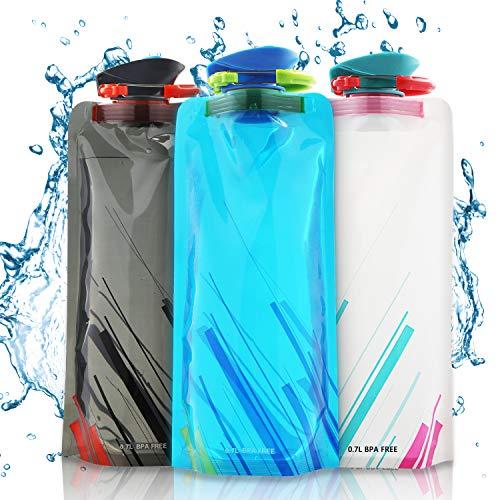 Nasharia Faltbare Wasserflaschen, Set von 3 Flexible zusammenklappbare Trinkflasche Wiederverwendbare Wasser-Flaschen Trinkrucksäcke für das Wandern, Abenteuer, das Reisen, 700ML