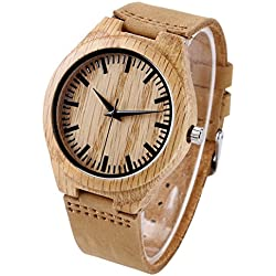 YISUYA Handmade Wooden Bamboo Men's Wristwatch with Leather Bracelet Quartz Analogue Watch for Women