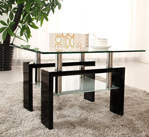 OSPI High Gloss Coffee Table Side Table Black Color W65xD65xH43 cm