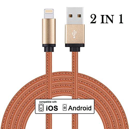 FASTEO - 2in1 universelles Ladekabel mit zwei Anschlüssen für Apple und Android (Lightning Konnektor + Micro USB Konnektor) für Smartphones, Phablets, Tablets, Cameras, E-Readers, GPS und mehr! ( 2 METER)