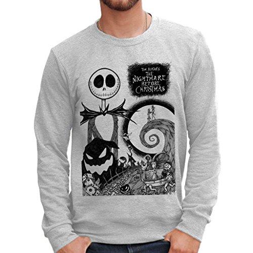 MUSH Sweatshirt Nightmare Before Christmas - Film by Dress Your Style - Herren-L Grau (Nightmare Before Christmas-pullover)