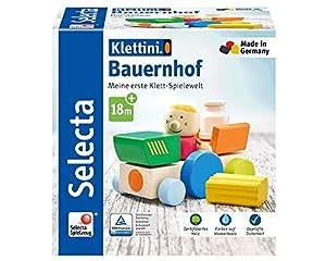 Selecta 62076 Klettini - Juguetes apilables (7 Piezas), diseño de Granja