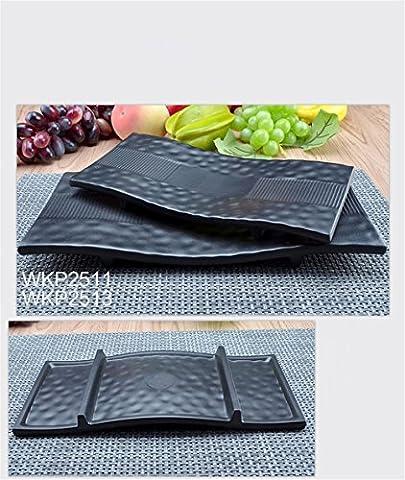 CHENXXOO-mélamine imitation de haute qualité de vie bac en porcelaine résistante aux éclats steak barbecue rôtissoire noir table de l'hôtel hot pot plat de plaques 33.1*16*2,8 cm