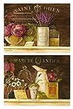 Cuadros de Madera de Flores Multicolor/Colorido Set de 2 Unidades de 19 cm x 25 cm x 4 mm unid....