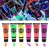 Die besten Glow In The Dark Körperfarben - Symbat Body Painting Fluoreszierende Körperfarbe, 6 Farben, Set Bewertungen