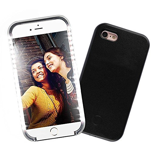 GSY Coque lumineuse pour selfie avec éclairage LED rechargeable, flash, interrupteur à intensité variable pour Apple iPhone, plastique, noir, iphone 5/5S/5SE
