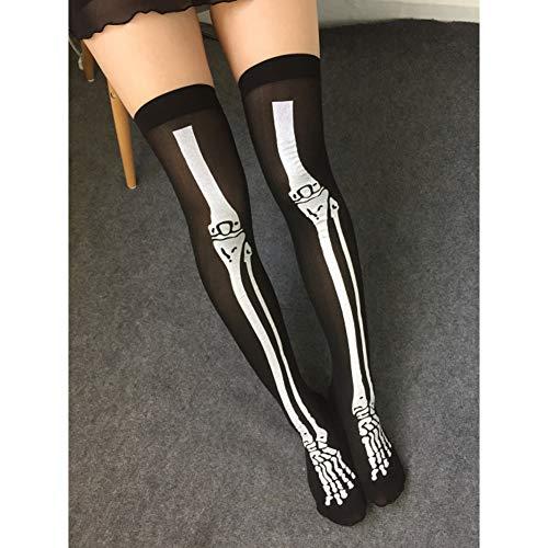 SUZNUO Sexy Cosplay Gestreifte Strümpfe Weibliche Über Knie Hohe Socken Skelett Gedruckt Dünne Sox Harajuku Retro Socken