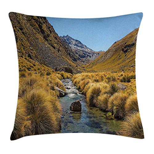 DHNKW Nature Throw Pillow Cushion Cover, River on Mountain Valley Rocky Hills Autumn Rural Creek Country Landscape, Decorative Square Accent Pillow Case, 20 X 20 inches, Apricot Blue Brown -