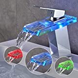 BONADE LED Wasserhahn bad Waschbecken mit RGB 3 Farbewechsel Beleuchtung Wasserfall Auslauf Waschtischarmatur Einhandmischer aus Glas Mischer Spüle Waschtisch Einhebelmischer für Badezimmer