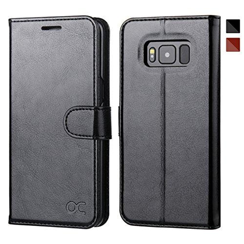OCASE Samsung Galaxy S8 Hülle, Handyhülle Samsung Galaxy S8 [Premium Leder] [Standfunktion] [Kartenfach] [Magnetverschluss] Schlanke Leder Brieftasche für Samsung Galaxy S8 (5,8 Zoll) – Schwarz