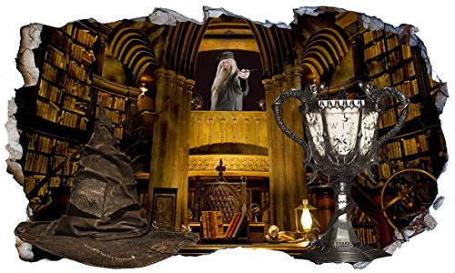 Harry Potter Hogwarts Professor Albus Dumbledore Büro Sortierender Hut und Triwizards Cup Fire 3D Magic Window V333 Wall Sticker Wall Sticker Wall Art Größe 1000 mm breit x 600 mm tief (groß) V1
