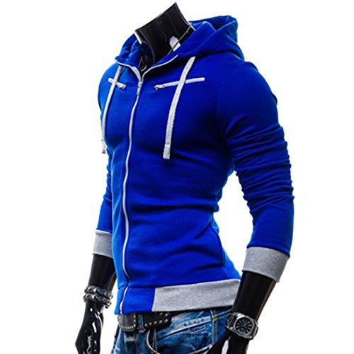 Partiss homme fit veste à capuche pour garçon à manches longues à fermeture éclair Bleu - Bleu