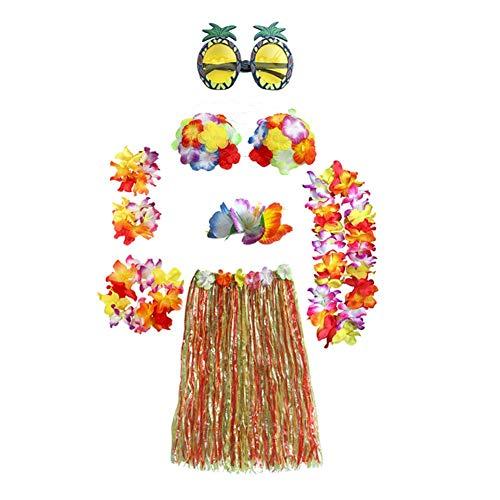 AUNMAS 8 stücke Hawaii Hula Dance Show Girlande Kleidung Set Party Leistung Dekoration Hula Gras Rock Kostüm Set Beach Party Favors(1#) (Hula Girl Kostüm Frauen)
