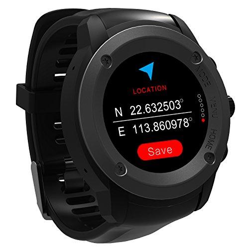 GPS Running Reloj GPS con monitor de frecuencia cardiaca en la muñeca, monitor de actividad y notificaciones inteligentes Reloj inteligente GPS para hombres Mujeres Modos Reloj de con GPS y Pulsometro de Muñeca, Unisex Adulto multideportes Teléfono compatible con 3-4 días de espera Estación de carga (Negro)