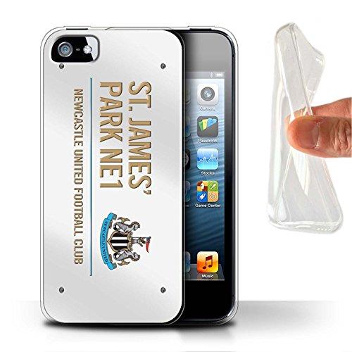 Offiziell Newcastle United FC Hülle / Gel TPU Case für Apple iPhone SE / Pack 6pcs Muster / St James Park Zeichen Kollektion Weiß/Gold
