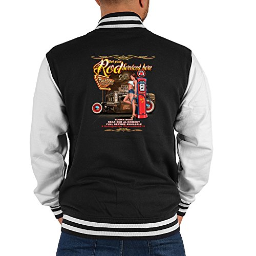 College Jacke für Herren mit Rückenaufdruck! Get your Rod Serviced here - College Sweater im Retro Style! (Jeans American Eagle)