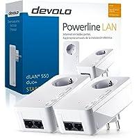 Devolo dLAN 550 duo + - PLC Powerline adaptateurs LAN (500 Mbps, 2 adaptateurs, 2x LAN Port, prise LAN), blanc