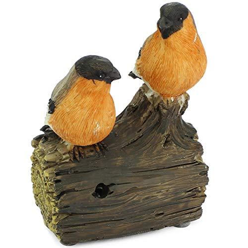 Mabax Haus & Garten Vogel Bewegungsmelder | Vögel Paar Duo | Bewegungssensor & Vogelgezwitscher Alarm (Orange/Schwarz/Grau) -