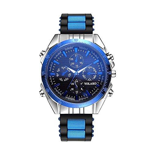 Souarts Herren Galliumnitrid Glas Silkon Armband Uhr Analog Quarz mit Battterie