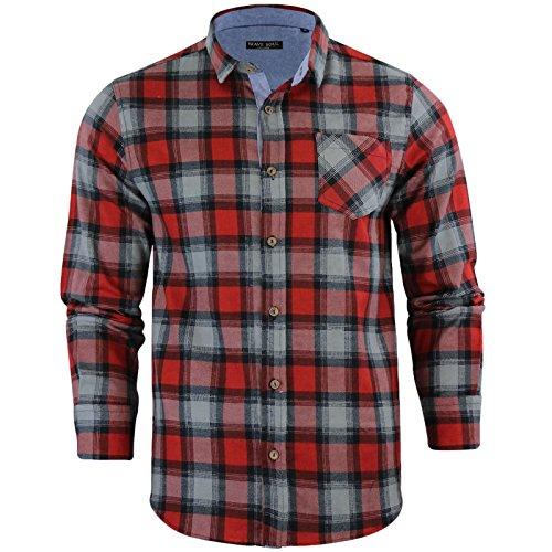 Brave soul - camicie casual - 'garfield' - scacchi, quadretti - con colletto - manica lunga - uomo (garfield - red) s