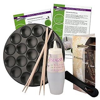 Patisse Poffertjes Pfanne-Set mit Rezepten, Teigflasche und Holzstäbchen, Aluminium, Schwarz 25 cm, 6-Einheiten