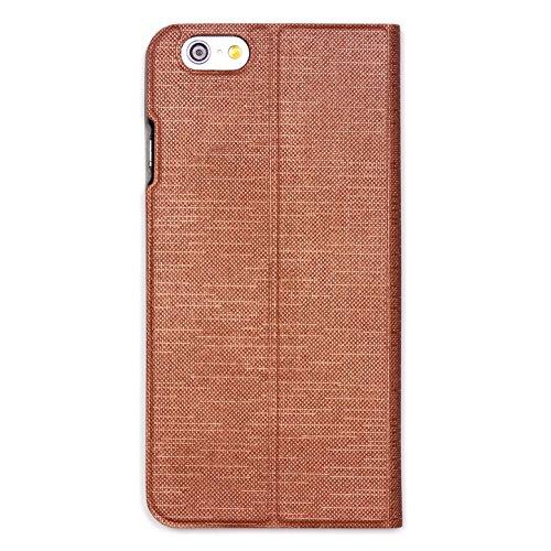 URCOVER Coque Portefeuille Ultra Fin pour Apple iPhone 6 6S Plus | Cover Dure á Pochette en Orange | Housse Étui avec Rabat - Support - Slot Cartes Marron