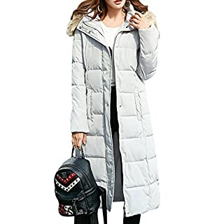 Anyu Womens Warm Zip up Long Hooded Padded Puffer Quilted Parka Jacket Coat Grey L