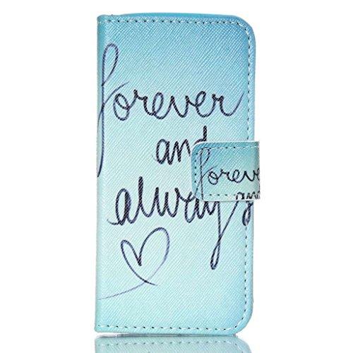 Dokpav® iPhone 5C Coque,Ultra Slim Mince Flip PU Cuir Housse Etui Case Cover Avec Intérieur Slip poches pour les cartes- Cerfs vagues bleues Amour pour toujours