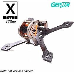 GEPRC 139MM Quadcopter Carbon Frame FPV marco con RGB LED 3K marco de fibra de carbono 3 mm de espesor de apoyo RUNCAM Swift Mini y lente Micro Swift para FPV Racing Quadcopter Drone (GEP-MX3)