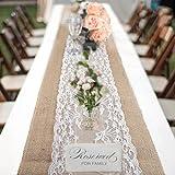 bennyuesdfd Jute Tischläufer Spitze 6 Stück Rustic Burlap Hessischen Land Tischband für Hochzeit Festival-Ereignis Tischdekoration 30 x 275cm