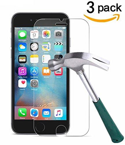 [3 Stück] CÄSAR-GLAS Panzerglas Schutzglas für Apple iPhone 6 / 6S / 7, Anti-Kratzen, Anti-Öl, Anti-Bläschen, 9H Echt Glas Panzerfolie Schutzfolie