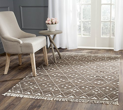 Natürliche Wolle Teppich (Safavieh Natürlicher Kelim-Teppich, NKM316, Flachgewebter Wolle, Braun/Elfenbein, 160 x 230 cm)