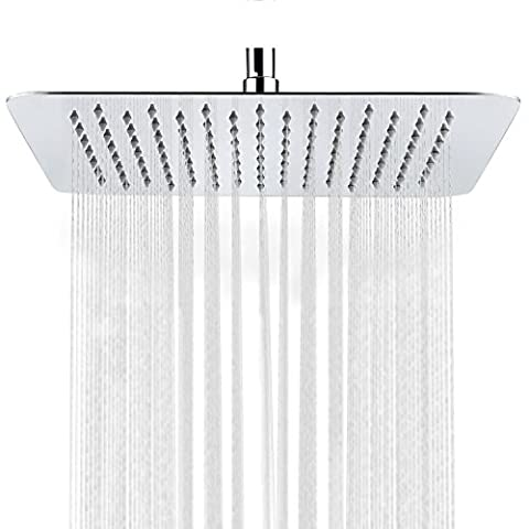 S R SUNRISE Extra Large Square 12-Inch High Pressure Fixed Rainfall Shower Head Ultra Thin 304 Stainless Steel with Swivel 1/2 Metal Ball Connector SRSH-1203