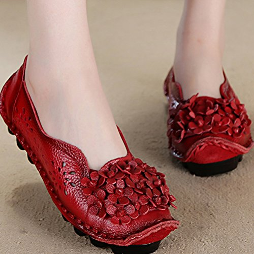 Vogstyle Damen Weinlese Blumen Handgemachte Lederschuhe Flats Art 7 Rot