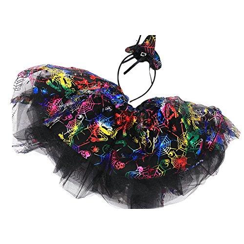Per Halloween Masquerade Rock Hut Set Tutu & Headwear Träume Halloween Kostüme für Mädchen Kinder(Bunt)