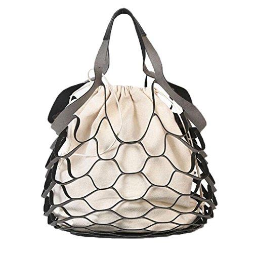 Canvas Bag Vita, Le Donne Vuote Consegnato Netbath Benna Borsa Casuale Tote Bag Borse Grande Spalla by Kangrunmy Nero