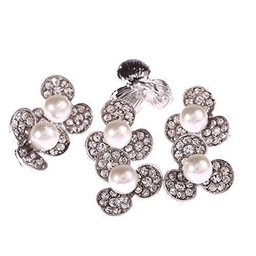 10 Bottoni con Perle e Cristalli da cucire (15mm (Perla Del Trifoglio)