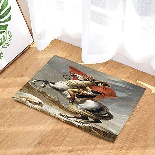 Teppich Fliesen König (XHWL767 Porträt Bad Teppiche von Napoleon berühmte Malerei Frankreich König Riese 40 x 60 cm Tür Haustür hinten Badezimmer Matte Zubehör)