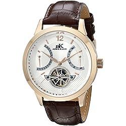 Adee Kaye Men's AK2241-M/SV Rosetone Case, Silver-Rosetone Dial, Brown Band Watch