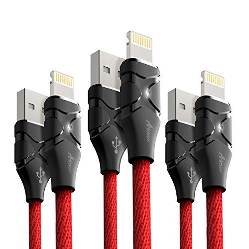 iPhone Kabel Aimus® [3Pack,1,2m + 1,2m + 1,8m] iPhone Ladekabel Lightning -Material Besser als Nylon iPhone Kabel USB Datenkabel für Apple iPhone X/ 8 / 8 Plus / 7 / 7 Plus / 6S / 6S Plus, iPad etc (Für Iphone Usb-kabel Apple)
