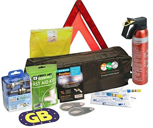 European Travel Kit 2 x Hi-Vis Jacket, Adhesive GB Sticker, Pair Of Beam Benders, H7 Bulb Kit, Pair Of Breathalysers