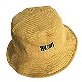GLOGLOW Bucket Hat, Mode Männer Frauen Vintage Cord Kappe Fischer Bucket Hat Schreiben von Wörtern(Ruhe bewahren)