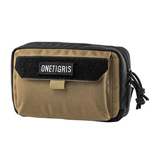 OneTigris Werkzeugtasche, horizontal, MOLLE-Werkzeugtasche, mit Handyfach und Patchpanel, Herren, Coyote Brown Iphone Horizontal Pouch