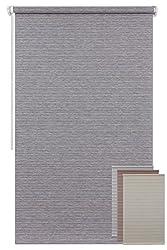 Der Jalousienladen EFIXS Minirollo - Modell: Natura - grau - OHNE Bohren - Stoffbreite: 50 cm - Höhe: 150 cm - seitlich verspannt - Sichtschutz - lichtdurchlässig