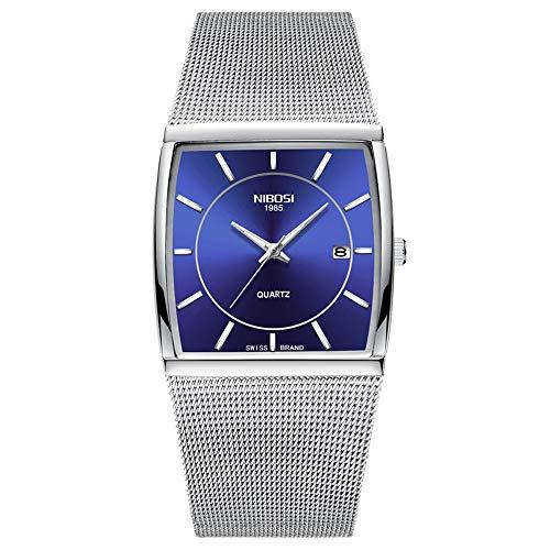 Orologi polso Quadrante Quadrato Ultra-sottile Calendario Largo Cuff Orologi Uomo Cinturino in acciaio inox Moda, Blu